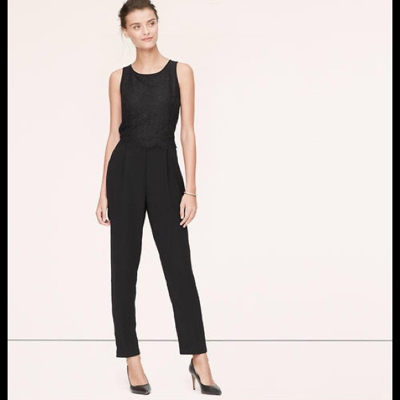 a13a393298be ANN TAYLOR LOFT BLACK SCALLOP LACE JUMPSUIT