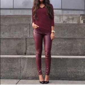 Pants - Maroon leather leggings liquid black burgundy