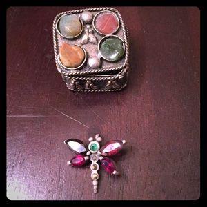 Jewelry - sterling silver&garnet dragonfly pendant w ss box