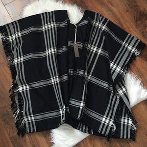 Rory Beca Sweaters - Rory Beca Plaid Fringe poncho