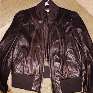 Brown leather jacket. Bomber style
