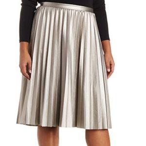 117dcc35d83 Charlotte Russe Skirts - Plus size Faux Leather Metallic Midi Skirt