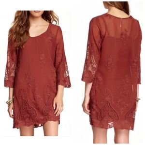 Monoreno rustic Layered lace dress.