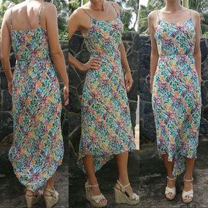 Rainbow rectangle silk chiffon dress neiman marcus
