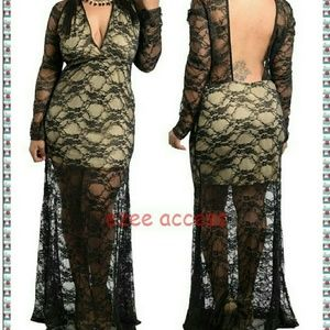 Plus size dress long maxi lace sheer mesh