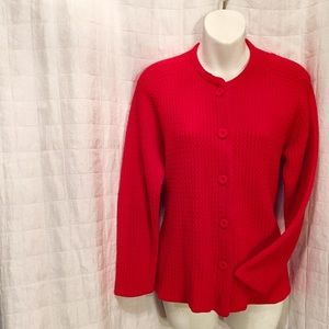 vintage red cardigan sweater 70s