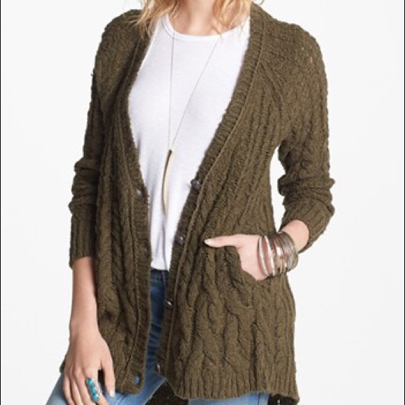 84% off Free People Sweaters - Free people dark olive green ...
