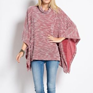 """Asking for Roses"" Poncho Cowl Neck Cape Top"