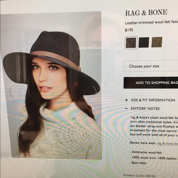 cd1c50b7332f3a rag & bone Accessories | Rag Bone Leather Trimmed Wool Felt Fedora ...