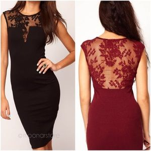 Dresses & Skirts - sexy maroon lace back dress black inset holiday