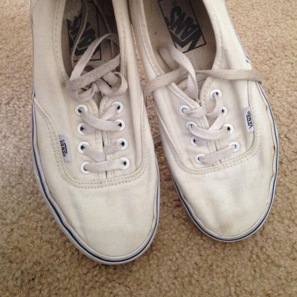 76% off Vans Shoes - White canvas vans men's size 5 women's size ...