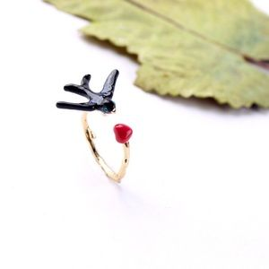 Jewelry - 👍3X HOST PICK👍Cute bird&heart adjustable ring
