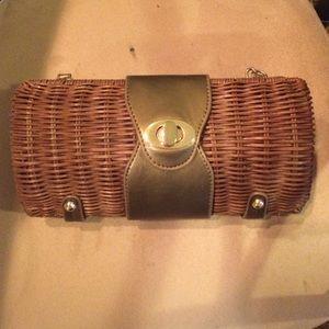 Handbags - Jcrew style Wicker clutch with strap inside
