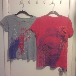 Set of 2 Print T-Shirts Sz M