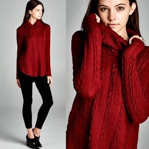"X ""Valentine"" Turtleneck Knitted Sweater Top"