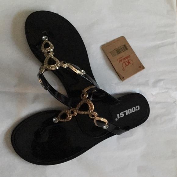 07ca8953f5b06 Coolsi Jeweled Flat Jelly Flip Flop Sandal