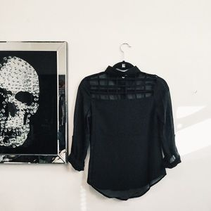 💀HP💀Caged back blouse in BLACK