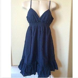 Forever 21 Navy Blue Eyelet Ruffle Dress, Size S