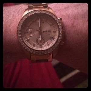 Rose Gold Fossil watch.