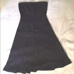 DKNY Black Quilted Ribbon Strapless Cocktail Dress