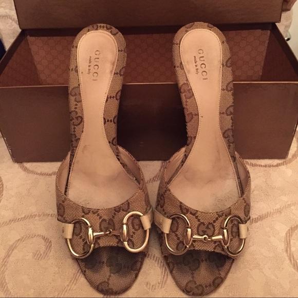 Gucci Shoes - Gucci slip on sandal heels 5c985c7a17a5