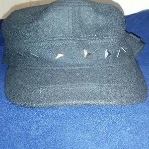 Tarnish Accessories - Black wool studded engineer cap winter hat