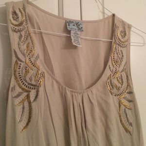 Anthropologie Dresses - Gorgeous Anthropologie cream & tweed dress w beads