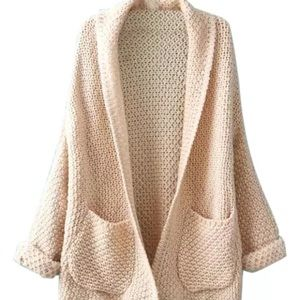 Sweaters - 💥SALE💥Beige Long Sleeve Knitted Cardigan!