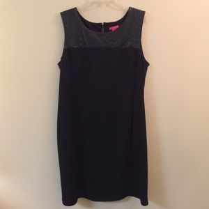 Black dress with quilted faux leather around neck