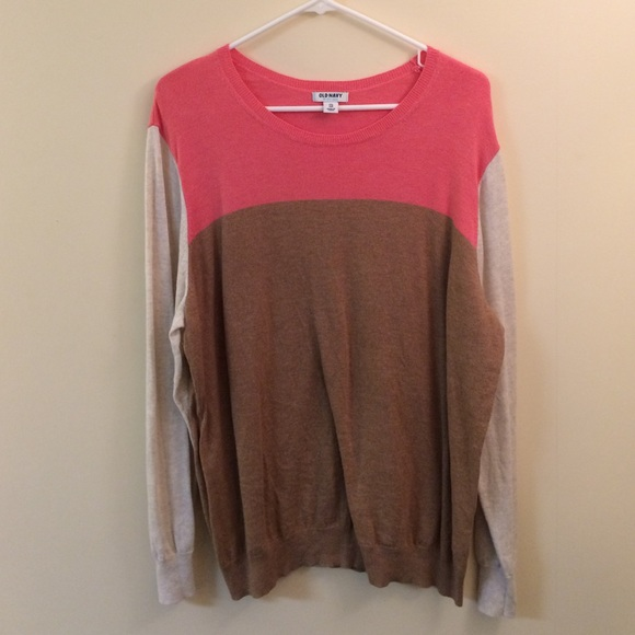 50% off Old Navy Sweaters - Pink, brown, and beige color block ...