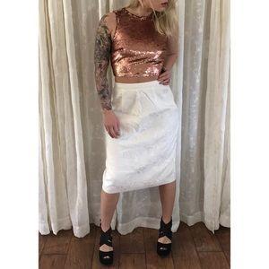 SALE Ivory Floral Embossed Midi Skirt