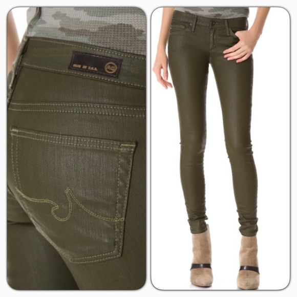 Ag Jeans Woman Cotton-blend Skinny Pants Army Green Size 25 AG - Adriano Goldschmied dOPjtdBT