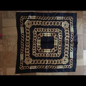 Vintage Chanel Black Gold Chain Square Scarf