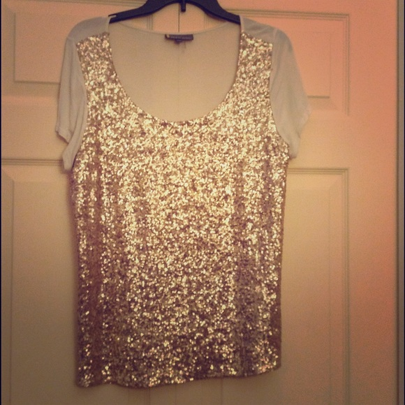 Buffalo David Bitton Tops Gold Sequin Sparkly Holiday New Year