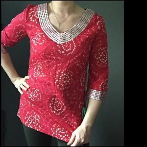 Calypso St. Barth Tops - Red & sequin Tunic