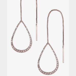 Express Jewelry Rose Gold Pav Pull Through Earrings Poshmark
