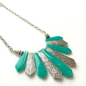 Jade green and chrome boho spike necklace