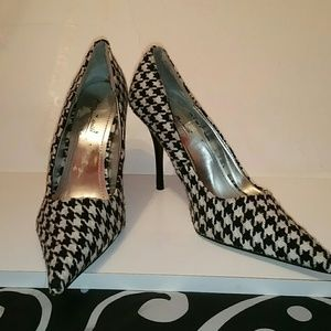Black and White Houndstooth SHOES|HEELS