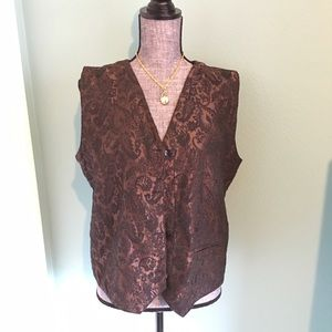 Gorgeous Chico's Damask Vest Brown Black 2