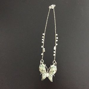 Jewelry - Enamal Butterfly Necklace with Crystal beads.