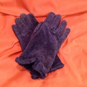 Aris Accessories - Purple suede leather gloves