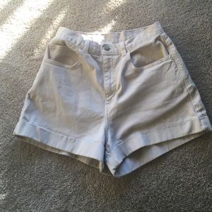 American apparel high waisted cream shorts