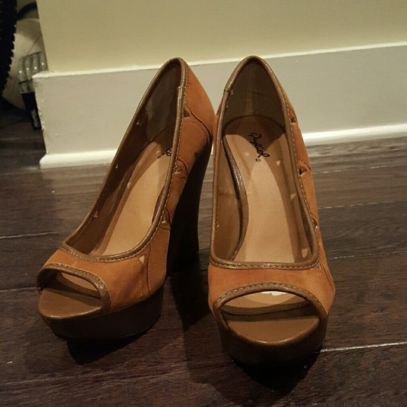 86 qupid shoes qupid brown peep toe wedges from