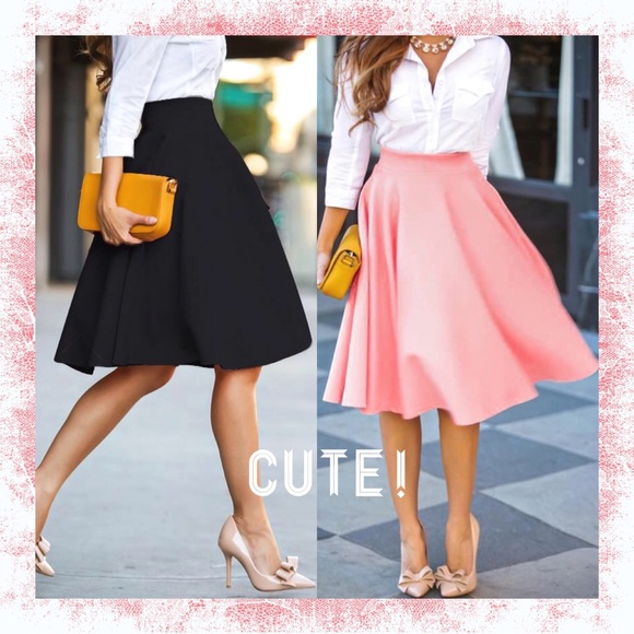 Black & Pink Pleated High Waisted Midi Skirt NWT S, M, L from ...