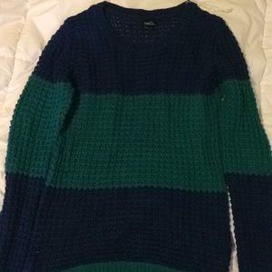 Green and blue striped sweater