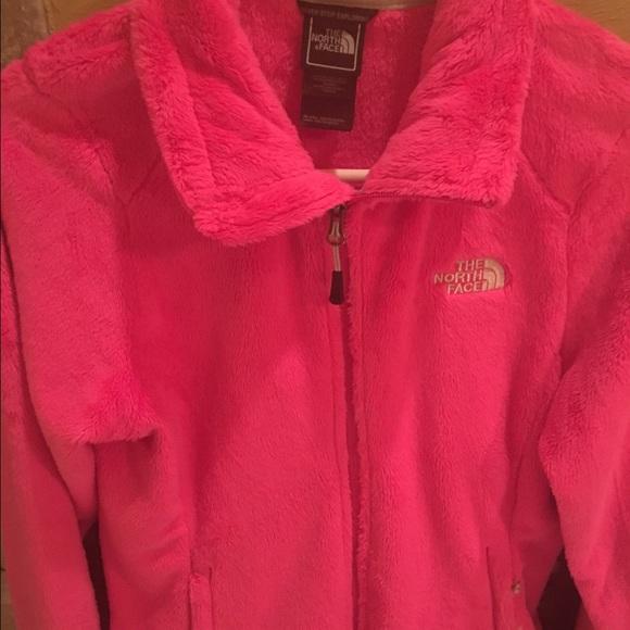 North Face hot pink fleece jacket.