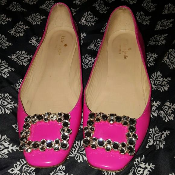 b84ee3f7dedf kate spade Shoes - Kate Spade hot pink rhinestone ballet flats 8