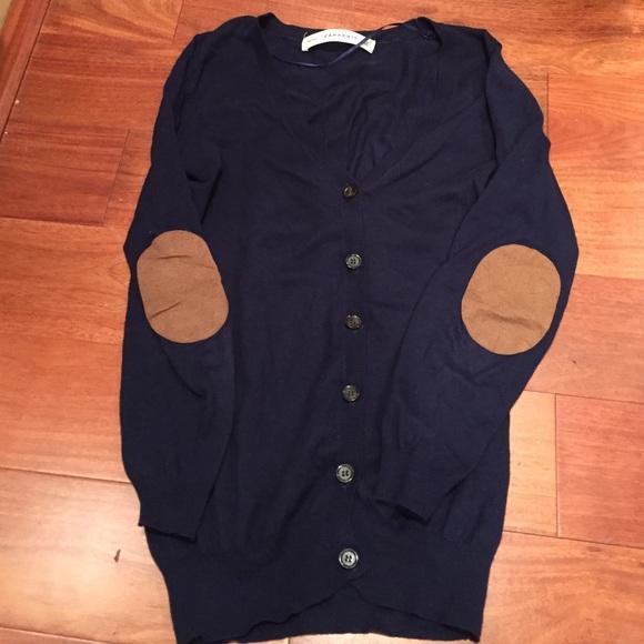 50% off Zara Sweaters - Zara Elbow Patch Button Down Navy Cardigan ...