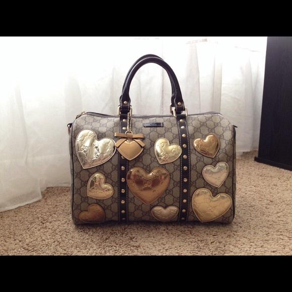 bcf5f1089672 Source · Gucci Bags Limited Edition Heart Studded Boston Bag Poshmark