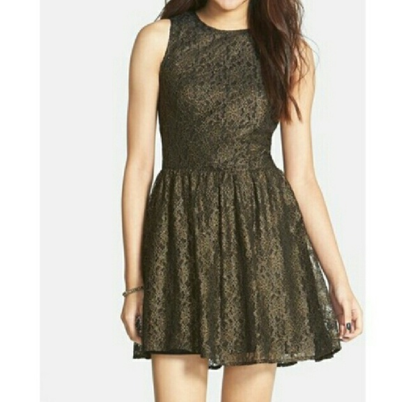 Frenchi Dresses & Skirts - Frenchi black dress lace,w/gold accents